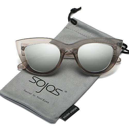Silver Frame Transparent (SOJOS Retro Vintage Cateye Sunglasses for Women Plastic Frame Mirrored Lens SJ2939 with Transparent Grey Frame/Silver Mirrored Lens)