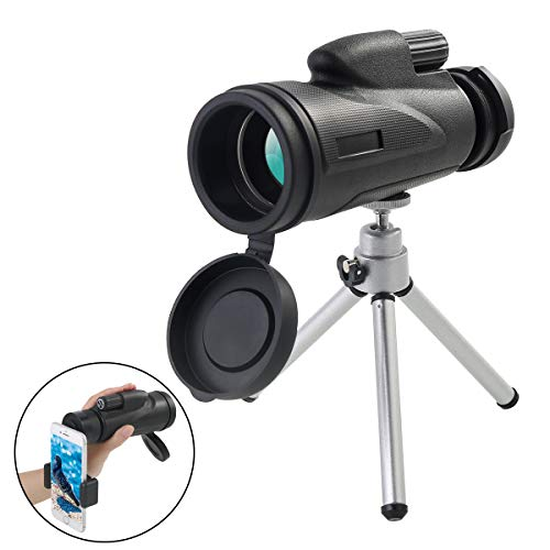 Monocular Telescope for Adults, Night Vision Monocular Scope 12×50 High Power, Waterproof BAK4 Prism for Bird Watching Outdoor Camping Hiking with Phone Clip Adapter and Tripod for Smartphones