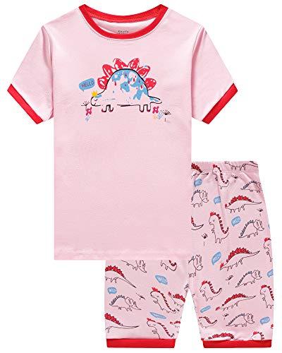 KikizYe Little Girls Dinosaur Pajamas Short Sets 100% Cotton Kid Summer Pjs 5