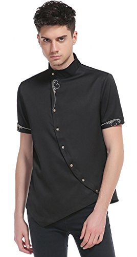 Whatlees Mens Short Sleeve Extra Long Embroidery Design Party Club Button Down Dress Shirt B508-Black-XL