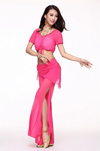Danza del vientre Disfraz Set Bandage Yarn Top+See-through Wide Leg Pantalones Dark Pink