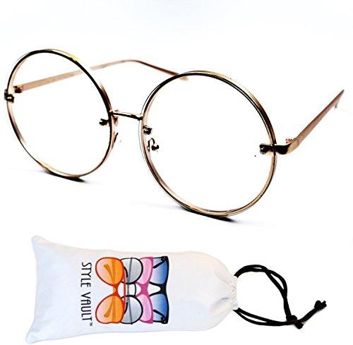 E3081 Oversize Round clear lens Metal eyeglasses fashion glasses (Gold, - Nerd Glasses Huge