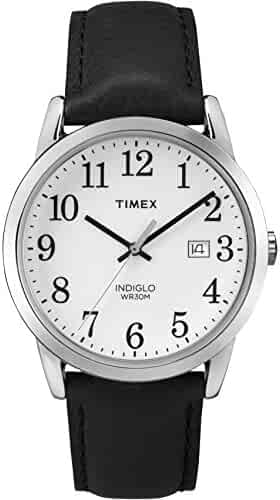 Timex Men's TW2P75600 Easy Reader Black/Silver-Tone/White Leather Strap Watch