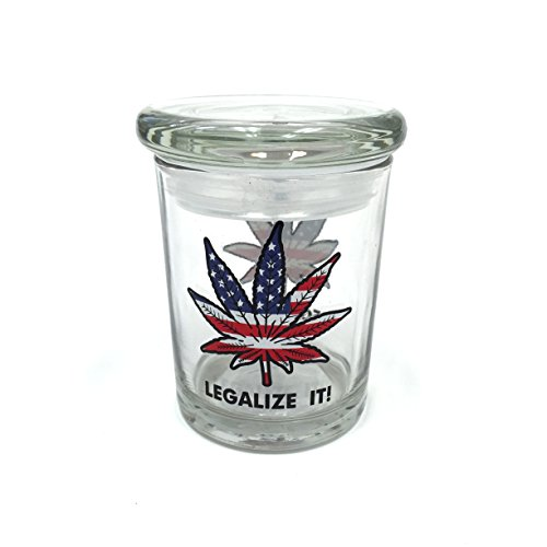Legalize it American Flag Pop Top Jar Glass Medical Jar Herb Storage Container (4