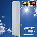 TV Antenna -ANTOP Outdoor Digital HDTV Antenna 70 Mile Long Range, OTA Amplified HD TV Antenna Optimized for Full HD 1080p & 4K Ready with Amplifier Signal Booster and 40ft Coaxial Cable