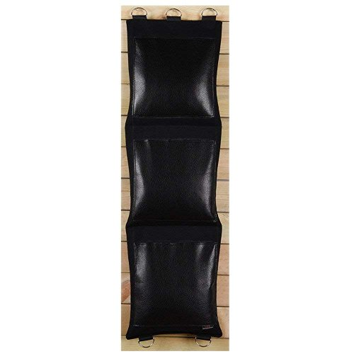 Black Canvas Punching Wallbag for Wing Chun One-Inch Fist Practice Option (Leather, 3-Section) BCPU003