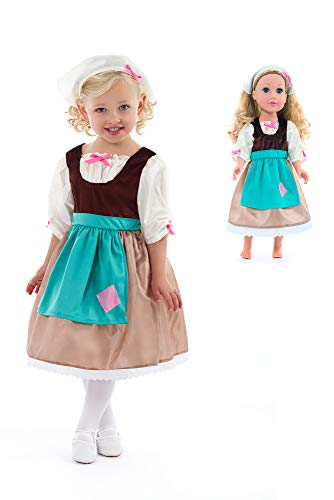 Little Adventures Cinderella Princess Day Dress Up Costume with Head Scarf & Matching Doll Dress (Medium (Age 3-5)) -