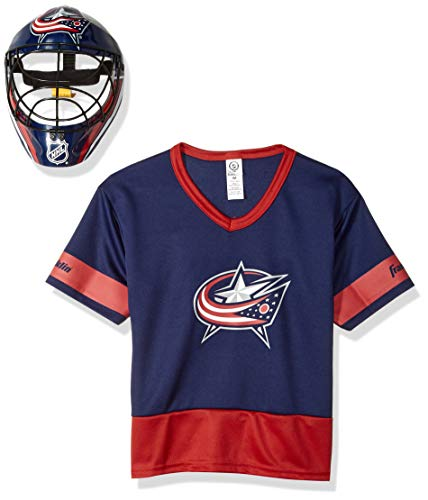 (Franklin Sports Columbus Blue Jackets Kid's Hockey Costume Set - Youth Jersey & Goalie Mask - Halloween Fan Outfit - NHL Official Licensed Product)