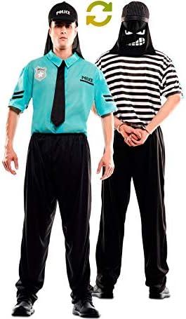 EUROCARNAVALES Disfraz Doble de Policía y Ladrón para Adultos ...