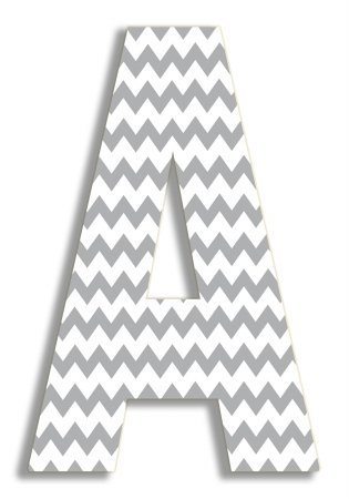 The Stupell Home Decor Collection Gray Chevron Hanging Wall Initial, 18-Inch, A by The Stupell Home Decor Collection