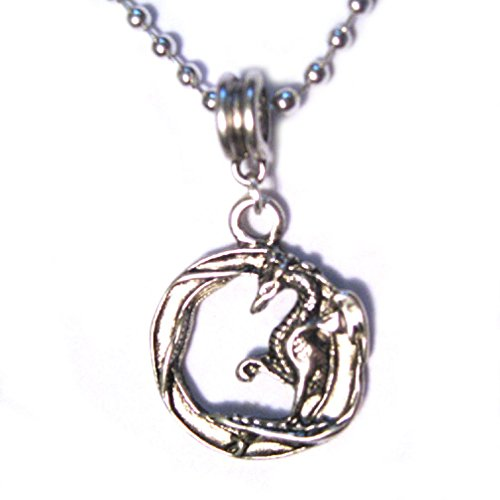 Dragon Medallion Coin Circle Silver Plated Charm 16