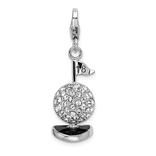 925 Sterling Silver Rh 3 D Enameled Golf Ball Lobster Clasp Pendant Charm Necklace Sport Fine Jewelry Gifts For Women For Her