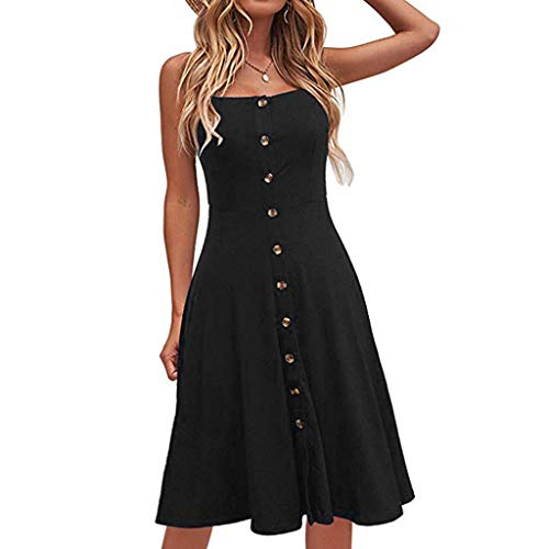 Sunhusing Ladies Solid Color Sexy Strapless Sleeveless Button-Down Waist-Tie Long Dress Casual Party Sundress Black