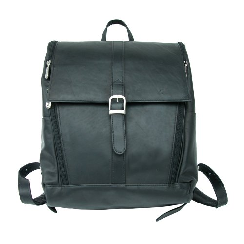 Leather Flap Piel Small (Piel Leather Slim Computer Backpack, Black, One Size)