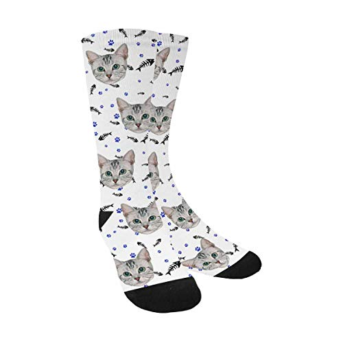Custom Personalized Photo Pet Face Printed Fish Bones Cat Dog Tracks Paws White Crew Socks for Men Women Unisex