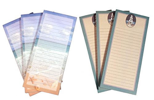 Creative Hobbies Magnetic Memo Note Pads, 8 x 3.5 Inches, 60 Sheets Per Pad, 3 Each of 2 Nautical Beach Designs - Total of 6 Pads (Set 5)