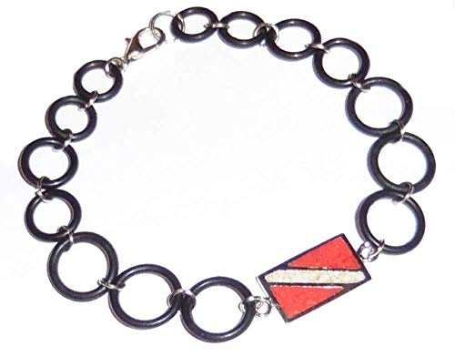 - Dive Flag Anklet or Bracelet - Tarnish-Free Rhodium-Plated Bronze or Brass, with Inlay of Simulated Red Coral and Mother-of-Pearl Chips, with O-Ring Chain (7