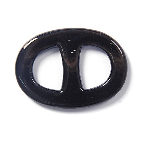 Marycrafts Size 3 Black Buffalo Horn Twilly Scarf Ring Scarf Clip Scarf Slides Handmade 4.5x3.1 Cm (Buffalo Ring Horn)