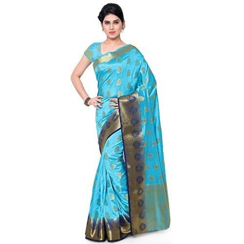 Varkala Silk Sarees Women's Art Silk Banarasi Saree With Blouse Piece_(ND1007ADNB_Turquoise Blue) by Varkala Silk Sarees