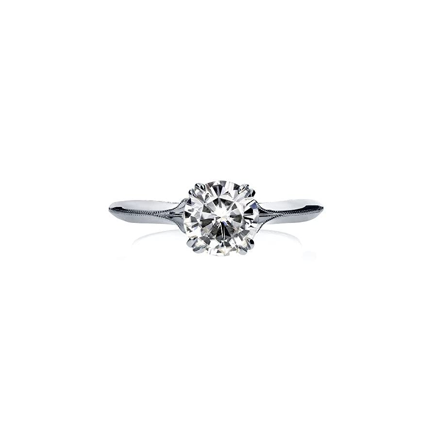 Vintage Moissanite Engagement Ring with Diamond 1 1/10 CTW 18k White Gold