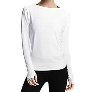Women Tops, Kimoog Long Sleeve Crew-Neck Backless Casual Crop Blouse T-Shirts With Thumb Hole (XL, White)
