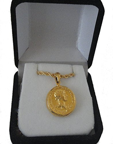 Golden Artifacts Roman Empire, Marc Antony & Cleopatra, Coin Pendant and Chain, Most Famous Romance, (# (Egyptian Coin)