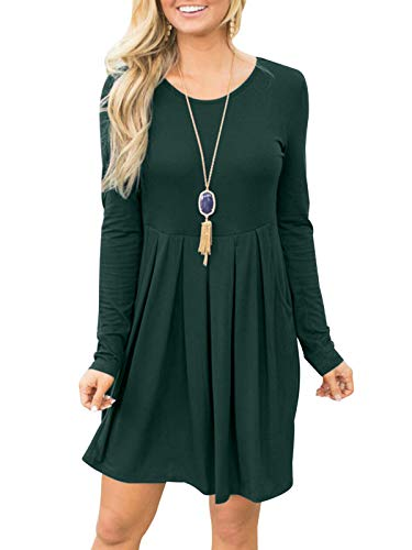 Dark Casual Dress Swing Sleeve Loose Pockets Long Fanfly Pleated with Green Women wIqBvv