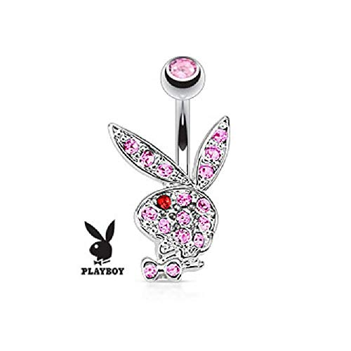 - Playboy Multi Colored Gems on Bunny 316L Surgical Steel Navel Ring (Sold by Piece)