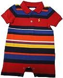 Ralph Lauren Polo Infant Boy's Short Sleeve Baby Romper Red/Multi Striped (3 Months)