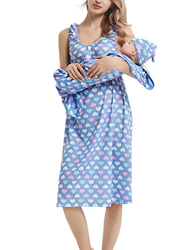 (GINKANA Maternity/Nursing Delivery Nightgown with Matching Baby Swaddle Blankets and Hat Set - Hospital Bag Must Have)