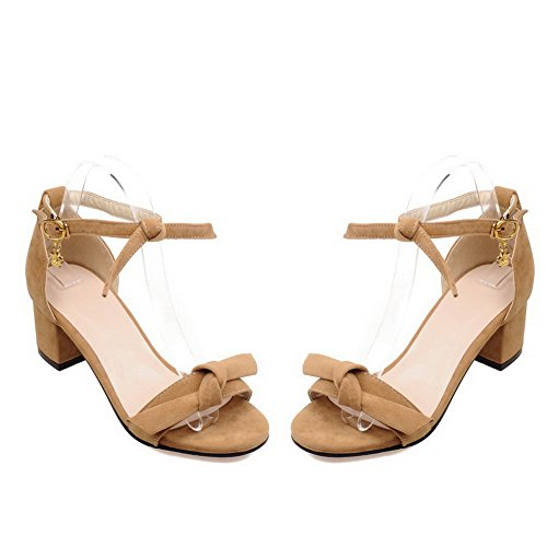 AgooLar Women's Solid Imitated Suede Kitten Heels Open Toe Buckle Sandals apricot MKaRQhOv