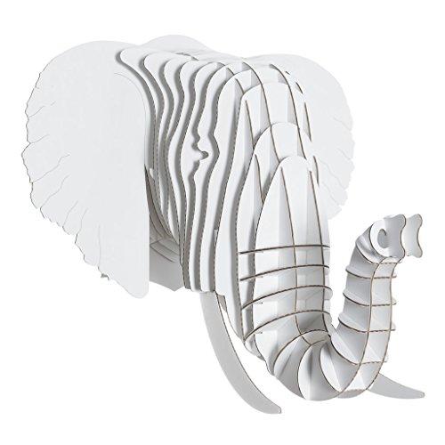 ycled Cardboard Animal Taxidermy Elephant Trophy Head, Eyan White Small ()