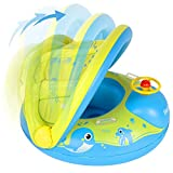 Peradix Baby Float for Pool with Canopy Inflatable Infant Pool Float Boat Sunshade Swimming Ring Upgrade Version