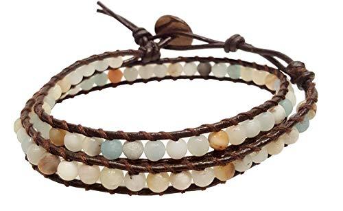 (Infinity Amazonite 2 Wrap Bracelets Choker Woven Leather Necklace 2 in 1, Men Bracelet, Women Bracelet, Teengirls)