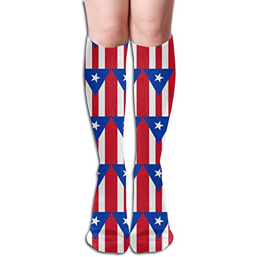 Unisex Puerto Rican Flag Clipart Compression Socks-Graduated Compression Knee High Legging Socks
