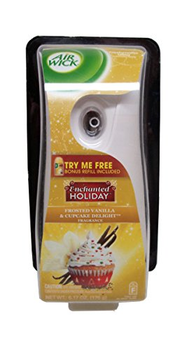 Air Wick Freshmatic Automatic Air Freshener Starter Kit, Enchanted Holiday Frosted Vanilla Cupcake Delight