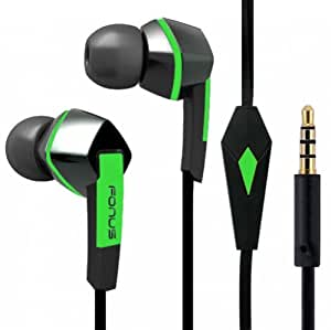 Premium Sound Earphones Hands-Free Tangle Free Flat Wired Green/Black Headset Dual Earbuds with Microphone for Cricket Nokia Lumia 530, Cricket Nokia Lumia 630, Cricket Nokia Lumia 635, Cricket Samsung Galaxy Admire 2, Cricket Samsung Galaxy Discover