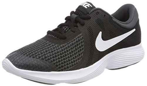 (NIKE Boys' Revolution 4 (GS) Running Shoe, Black/White-Anthracite, 5Y Youth US Big Kid)