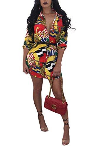 Remelon Womens Gold Chain Print Button Down Collar Long Shirt Dress Orange Large