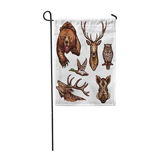Semtomn Garden Flag 12x18 Inches Print On Two Side Polyester Wild Animals and Birds Sketch of Grizzly Bear Elk Antlers Deer and Owl Home Yard Farm Fade Resistant Outdoor House Decor Flag ()
