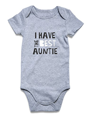 Funnycokid Infant Romper Jumpsuit Clothes I Have The Best Auntie Short Sleeve Bodysuits Cotton Baby Onesies Grey 0-3 Months