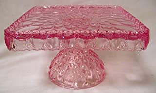"""product image for Elegant 10"""" Square Pink Glass Cake Stand Hand Made in Ohio"""