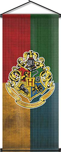 Nordic Souvenirs Harry Potter Style Banner - Hogwarts Flag 43in x 18in Wall Scroll - Ready to Hang - Perfect Barware Man Cave Gift - Unique HP Collectible Accessories by Nordic Souvenirs
