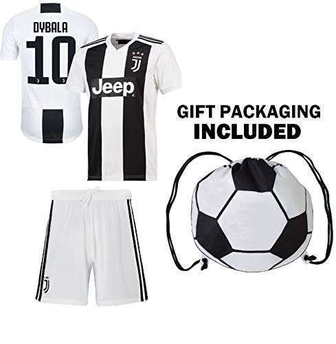 (Dybala Juventus Home Youth Soccer Jersey & Shorts & Kit Bag Ggreat GIFT for Kids Boys Girls Footbal Jersey Juve Dybala #21 (YM 8-10 years, Dybala #21 Home))