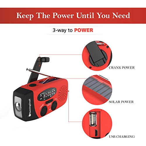 Large Product Image of [Upgraded Version] RunningSnail Emergency Hand Crank Self Powered AM/FM NOAA Solar Weather Radio with LED Flashlight, 1000mAh Power Bank for iPhone/Smart Phone