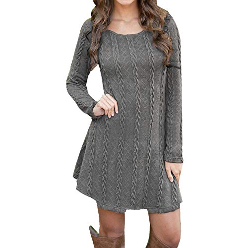 Sweater Dresses Tunic for Women,Sunyastor Ladies Long Sleeve Crewneck Knitted Sweater Dress Pullover Elegant Mini Dress ()