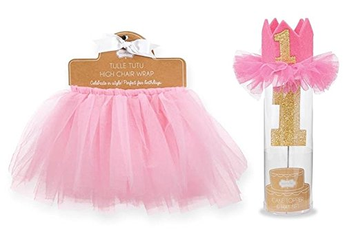 Mud Pie Tulle High Chair Wrap With Glitter Cake Topper First Birthday Crown