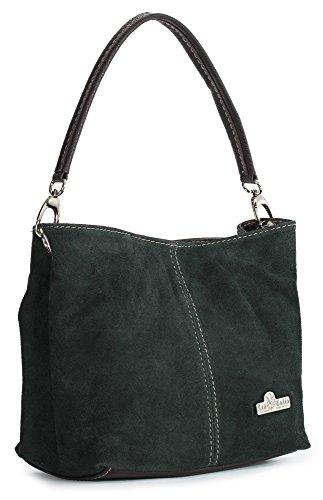 LiaTalia - Mini sac à main modèle cabas/hobo pour femme en suède italien porté épaule - 'Demi'(Noir) Vert Mousse