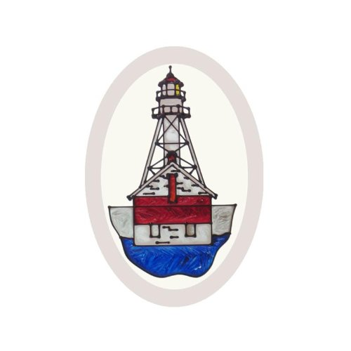Michigan Whitefish Point Lighthouse Painted Glass Suncatcher O-1086 ()