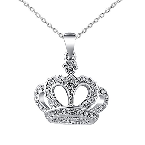 CHUYUN King's Crown Charm Rose Gold Color Cubic Zirconia Pendant Necklace for Girl - Necklace Charm Pendant Crown